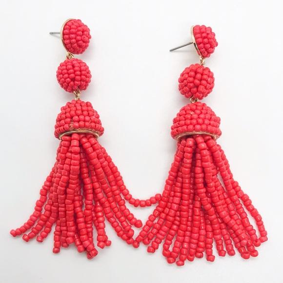 BaubleBar Red Beaded Ball Tassel Earrings